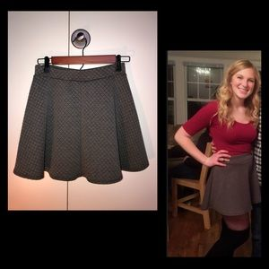 Gray High-Waisted Skirt, Small, Quilted Pattern
